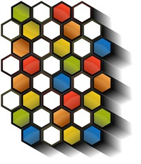 Set of 3D colored hexagon cells