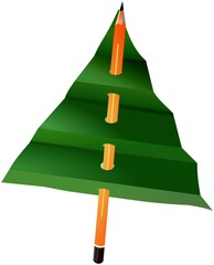 Simple paper Christmas tree spiked on pencil