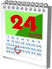 Small wall calender with Christmas day marked
