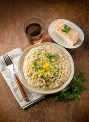 risotto with taleggio cheese lemon peel and parsley