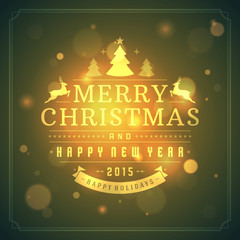 Christmas retro typography and light background