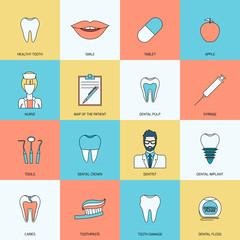 Teeth icons flat