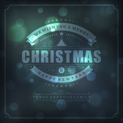 Christmas retro greeting card and light vector background
