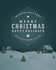 Christmas landscape retro typography and ornament decoration