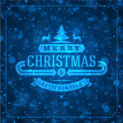 Christmas retro typography and light with snowflakes