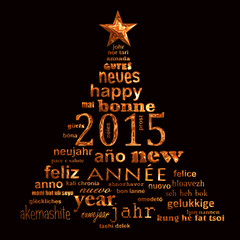 2015 new year multilingual text word cloud greeting card