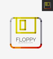 Minimal line design logo, floppy icon