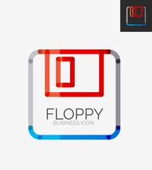 Minimal line design logo, floppy icon