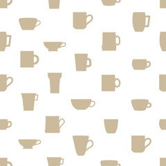 mugs and cups simple silhouette icons pattern eps10