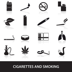 smoking and cirarettes simple black icons set eps10