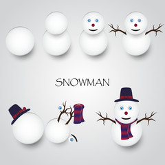white winter happy snowman building eps10