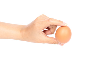 egg in hand on white