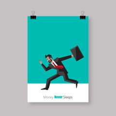 Poster Design, Simple cartoon of a businessman running