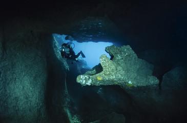 Italy, Marina di Camerota, Alabaster Cave entrance