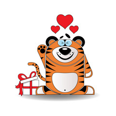 Valentine card with tiger with hearts
