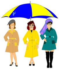 women in rainwear with huge umbrella