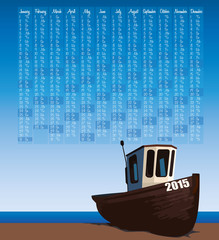2015 calendar with fishermans boat