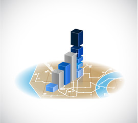 map and business graph illustration