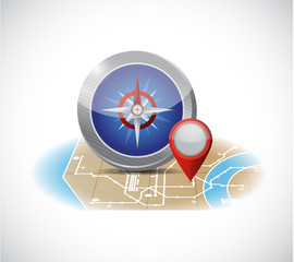 compass and map illustration design