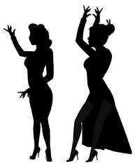 flamenco dancers in silhouette