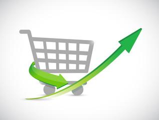shopping cart up arrow illustration