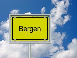 Bergen - Ortsschild