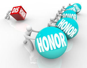 Honor Vs Dishonor Race People Pushing Rolling Balls Competition