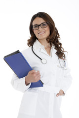 doctor woman with a folder, standing