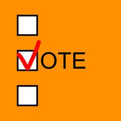 Checkmark symbol of voting