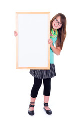 Girl holding an empty white advertising board