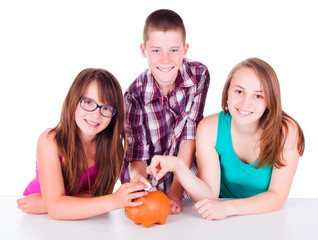 Teenagers saving money for the future