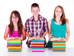 Students with colorful books