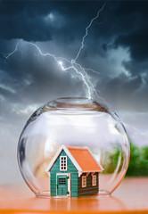 Insured house in thunder