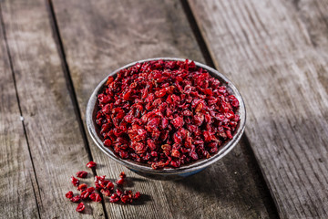 Dried barberries in iron cradling