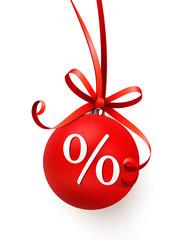 Rote Weihnachtskugel mit Schleife - Prozente