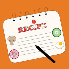 recipe note. vector illustration
