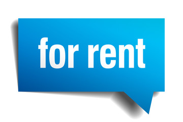 for rent blue 3d realistic paper speech bubble