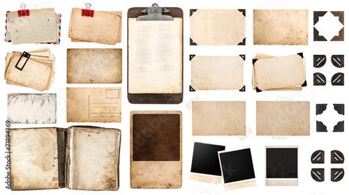 Leinwandbild Motiv vintage paper sheets, book, old photo frames and corners, antiqu