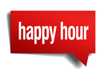 happy hour red 3d realistic paper speech bubble