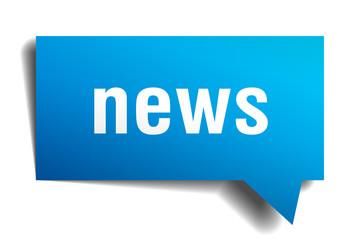 news blue 3d realistic paper speech bubble
