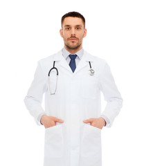 serious male doctor with stethoscope