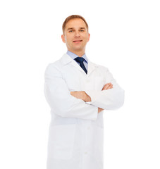 smiling doctor or professor with crossed arms