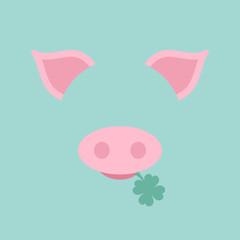 Abstract Card Pig Clover Retro