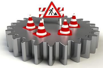 Achtung Warnung Baustelle 3d