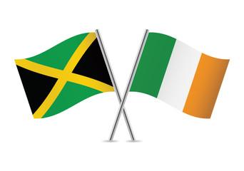 Jamaican and Irish flags. Vector illustration.