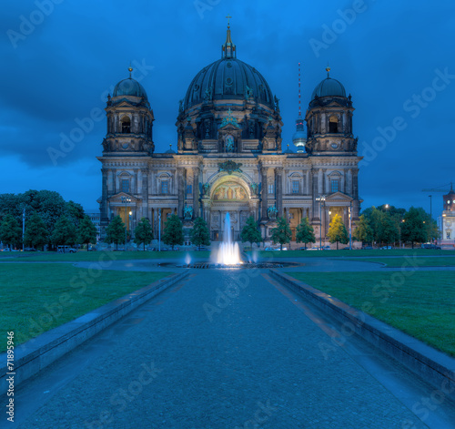 canvas print picture Berlin Dom At Night