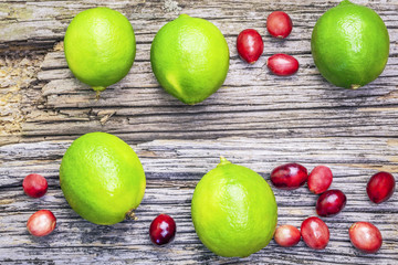 Citrus lime fruits with cranberries on wooden boards