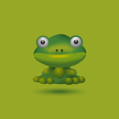 illustration of a funny frog on a green background