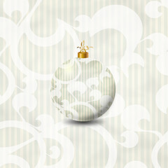 Weichnachtsbaum Kugel weiß muster
