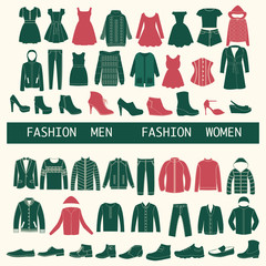 set with collection of men and women clothing  - Illustration